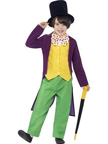 Fancy Me - Jungen Kostüm Roald Dahl Willy Wonka Charakter Charlie & Die Schokoladenfabrik Verkleidung - Mehrfarbig, 7-9 (Kostüme Hüte Gehstöcke Top Und)