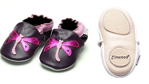 Jinwood designed by amsomo - Girls - Maedchen - Hausschuhe - Lederpuschen - Krabbelschuhe - soft sole / mini shoes div. Groeßen dragonfly purple mini shoes