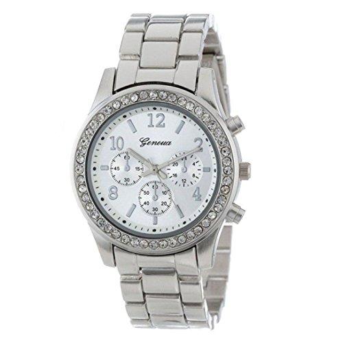 Uhren für Frauen, Winkey Frauen Faux Chronograph Quartz Classic Damen Kristall Armbanduhr silber