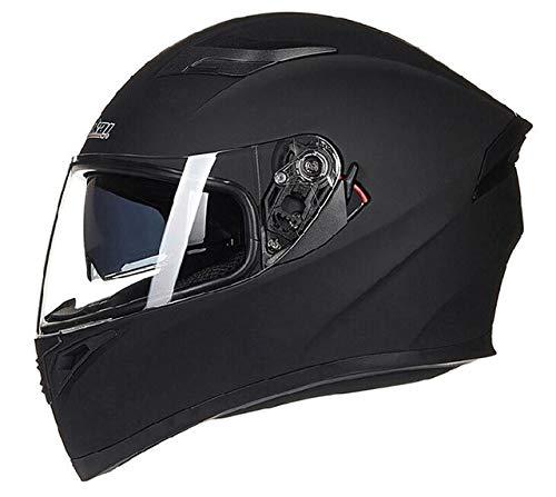 LanLan Protezione per motociclista Casco moto unisex Full Face Cool con protezione della testa da corsa Dual Lens - Nero opaco, M