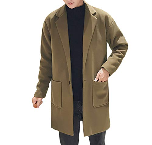 Aooword-men clothes Herren gekerbten revers art und weise mit taschen langarm-trenchcoat US X-Small=China Small Armee Grün