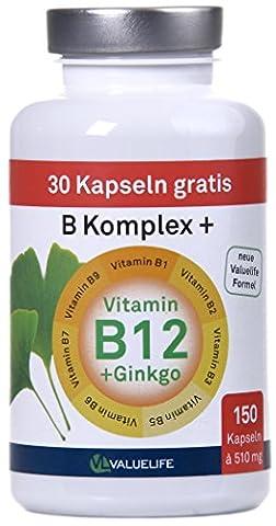 Vitamin B Complexe +: Vitamines B1 + B2 + B3 + B5 + B6 + B7 + B9 et B12 + Ginkgo Biloba! 150 capsules pour un maximum de 5 mois! Parfaitement adapté à la quantité du contenu et de la dose quotidienne. Lors du lancement, 30 capsules gratuites incluses