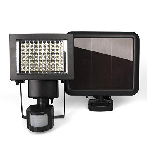 Plaights Solarleuchte/fluter mit Bewegungsmelder/sensor | 80 leistungsstarke LEDs | IP44 | Erfassungswinkel 180 Grad | ideal für Garten, Garage, Carport & Veranda