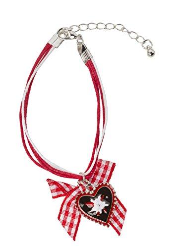 Trachtenarmband Herzglück rot/weiss - Herz und Edelweiss Trachten Arrmand (Rot/Weiss)