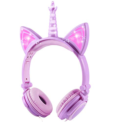 Sunvito Einhorn Kinder kopfhörer, LED Light Up Unicorn Cat Ear Headphones Faltbar Wired Over On Ear Headset für Jungen, Mädchen, Kind, Costume Party (Lila)