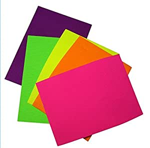 Deligao Pack Of 10 A4 Size Neon Colored Corrugated Craft Paper Sheets For Decorations