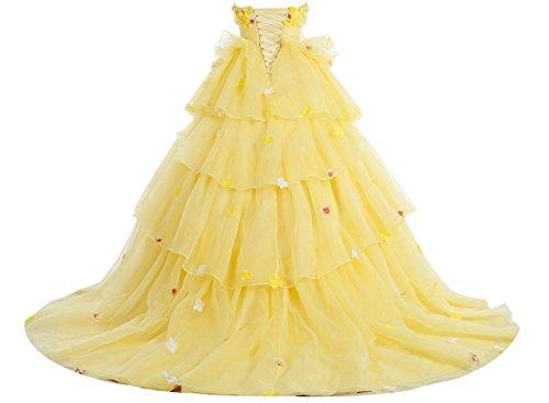 Bbonlinedress Robe de cérémonie fleurie forme marquise sans bretelles Bleu
