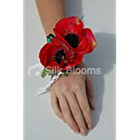 Splendido rosso brillante Anemone Poppy bouquet da polso perla e cristalli - Anemone Bouquet Da Sposa