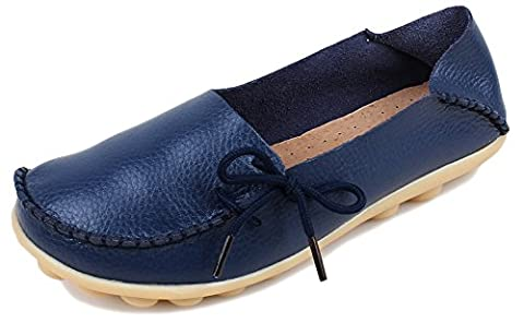 Fangsto Women's Soft Cowhide Leather Loafer Flat Shoes Slip-Ons UK Size 2 Med.Navy