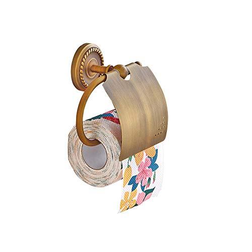 Wasserdicht Toilettenpapierhalter mit Abdeckung Badezimmer Deco, Retro Stil Wandmontieren Küchepapierhalter,Messing-Antik-Optik