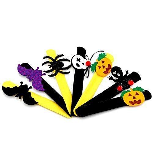 URChic 12Pcs sortierte Art-Halloween-Dekoration, die Kreis-Armband-Pat-Ring-Pops-Kürbis-Kreis-Klappe-Haken-Armband-Partei-Versorgungsmaterial-Kind-Bevorzugungs-Geschenke (6 Kostüm Edle)