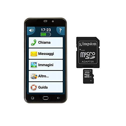 Bundle Senior + Speicher 32 GB/Smartphone Display 5 Zoll Handy Anziani Volume Verstärkte Sounderia Extra Starte Tasto SOS Taschenlampe Kompatibel mit Acustici Whatsapp Facebook App Android