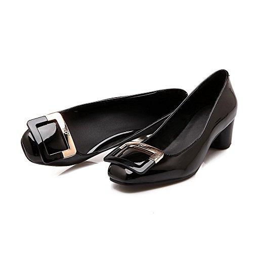AllhqFashion Femme Tire Pu Cuir Carré à Talon Correct Mosaïque Chaussures Légeres Noir