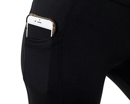 Sudawave Damen Mesh Radlerhose Kurze Leggings Yogahose Sporthose Shorts mit Taschen für Fitness Schwarz