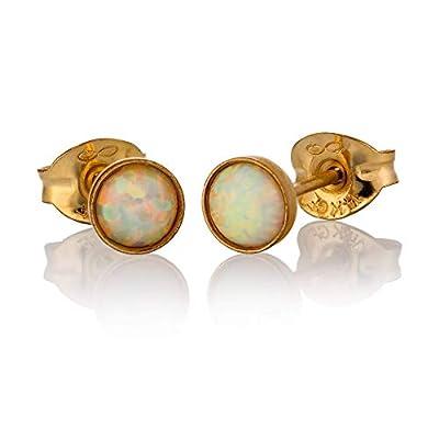 Boucles d'oreilles opale stud pierre de opale blanche de 4 mm d'or remplie d'or 14K