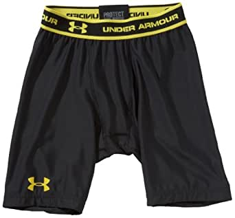 UNDER ARMOUR Men's Heatgear Compression Short, Black/Yellow, XL