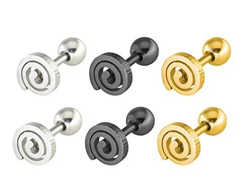 ker 3 Paare Edelstahl Allergiefrei Wirbeln Runde Ohrstecker Ohrringe 6mm (Schwarz Und Weiß Wirbeln)
