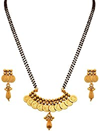 JFL - Traditional Ethnic Temple Goddess Laxmi Coin One Gram Gold Plated Mangalsutra With Black Beaded Double Chain...