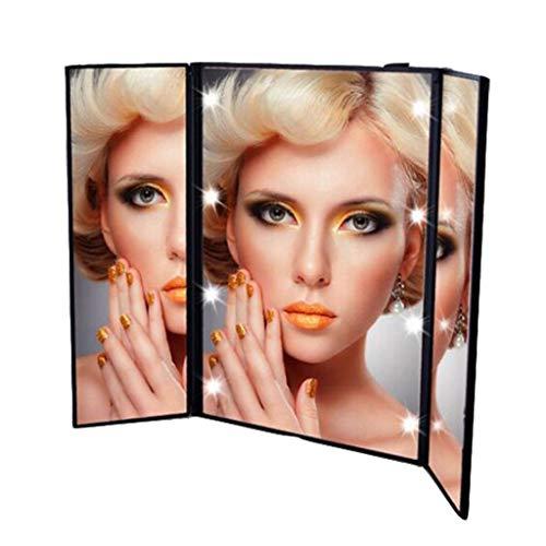 QVIVI Espejo Maquillaje 8 LED luz Espejos trípticos