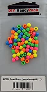 DIY-HandyPack Neonfarben 9 mm Perlen, 70 Stück