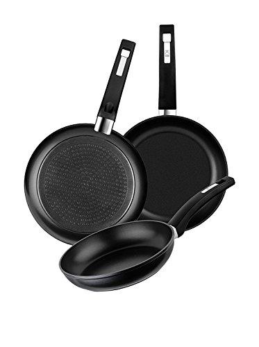 BRA Set de 3 sartenes de aluminio forjado con antiadherente, 18-22-26 cm, aptas para todo tipo de cocinas incluida inducción