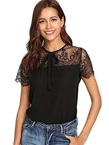 DIDK Damen T-Shirt Bluse mit Spitzen Knoten Schleife vorne Oberteil Tops Schwarz S