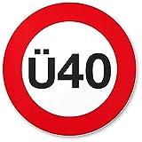 DankeDir! Ü40 Verkehrsschild - Kunststoff Schild, Geschenk 40. Geburtstag, Geschenkidee Geburtstagsgeschenk Vierzigsten, Geburtstagsdeko/Partydeko / Party Zubehör/Geburtstagskarte