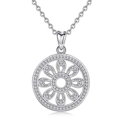 EUDORA Keltischer Knoten Anhänger Halskette für Frauen, 925 Sterling Silber Acht Speichen Rad Glücksbringer Vintage Schmuck für Frauen Damen Bestes Jahrestag Geschenk, 18