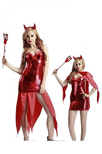 Damen 5 Teilig Dessous Set Wetlook Dämonen Demon Teufel Kostüm Minikleid Halloween Uniform Cosplay Club Wear Baby Dolls Nachtwäsche mit Teufelshörner und (Dämon Weiblich Kostüm)