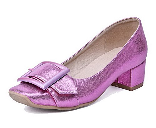 AllhqFashion Damen Mittler Absatz Rein Ziehen Auf Quadratisch Zehe Pumps Schuhe Lila