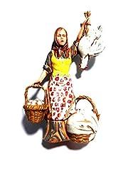 Idea Regalo - Generico ricevi 1 Pastore Serie Doppi Landi Alti 10 cm Donna Uova e Galline per PRESEPE S. Gregorio ARMENO ricevi Un Portachiavi Omaggio Shepherds Crib