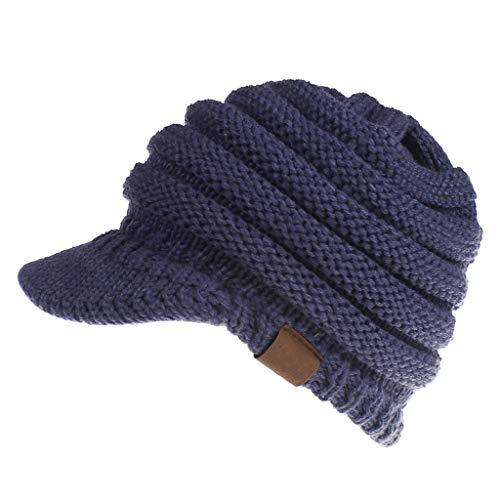 SBRTL Herbst und Winter Wollmützen Label Baseball Caps Caps öffnen Pferdeschwanz Hüte Damen,Marine