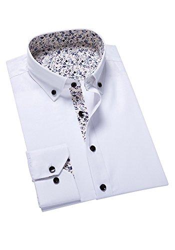Französisch Manschette-punkt-kragen-hemd (DOOXIUNDI männer - mode langarm hemd (XL, weiße))