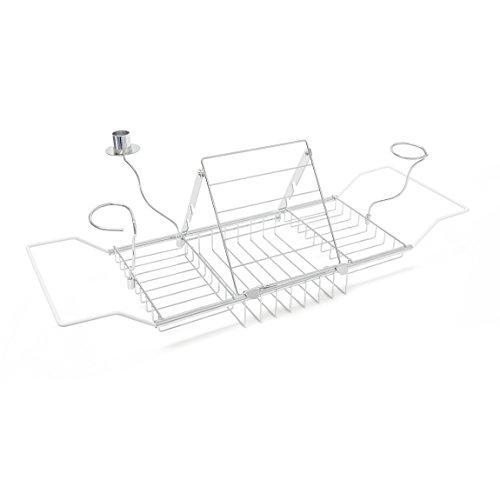 Relaxdays Badewannenablage Buchstütze, ausziehbares Badewannentablett mit Accessoires, Metall, HBT: 22x92x21cm, silber Romantische Bad-accessoires