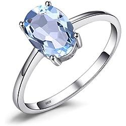 JewelryPalace 1.55ct Magnifique Bague Femme en Argent Sterling 925 en Topaze Ciel Bleue Naturelle Taille 52
