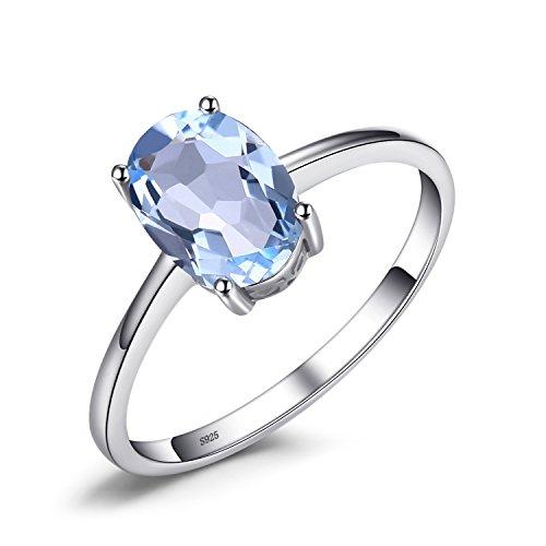 Jewelrypalace Oval 1.5ct Natürliche Himmelblau Topas Birthstone Solitär Ring Solid 925 Sterling Silber Verlobungsringe Größe 51 to 59
