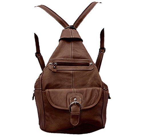 Convertible Schulter Tasche (Roma Leathers Damen Leder Convertible 7 Taschen-Medium Size Tear Drop-Riemen-Rucksack-Geldbeutel-Schulter-Beutel Einheitsgröße Dunkelbraun)