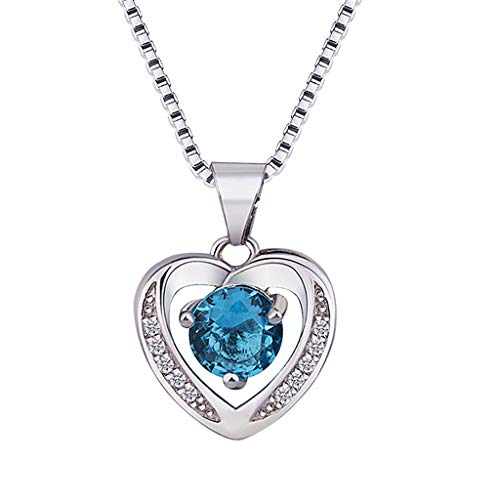 Mypace Anhänger Gold Silber 925 Für Damen Frauen Natural Amethyst Herzförmige Silber Halskette Schlüsselbein Kette Topas Anhänger (Blau) (Blauer Topas Katze)