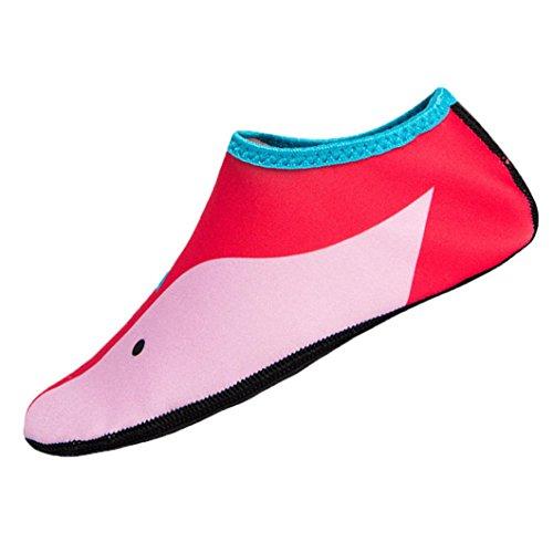 Strandschuhe Kinder Wasserschuhe, Sunday Jungen Mädchen Schwimmen Tauchen Socken Outdoor Wassersport Rutschfeste Schuhe Meer Aquaschuhe Surfschuhe Schwimmschuhe (Rot, L (8-9T))