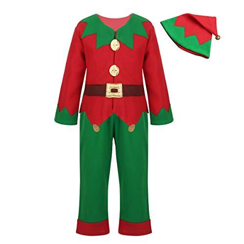 iiniim Disfraz Infantil de Ayudanta de Papá Noel Dsifraces Navidad Fiesta Rojo y Verde Conjunto de Camisa Pantalones y Gorro Costume Cosplay para Niños Rojo 7-8 Años