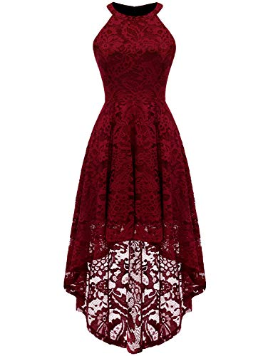 Dressystar Damen Cocktail Kleid, Geblümt Gr. X-Large, dunkelrot