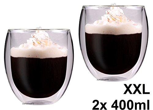 """AKTION: 2x 400ml doppelwandige Thermo-Teegläser / Kaffeegläser """"Rondini"""" extra groß mit Schwebeeffekt von Feelino"""