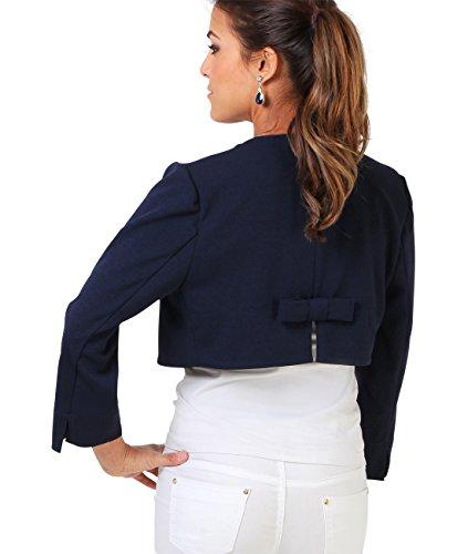 KRISP® Femmes Boléro Veste Tailleur Top Manches 3/4 Noeud Elégant Soirée Cérémonie Bleu Marine (9176)