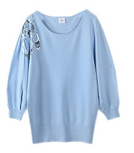 Smile YKK Sweat-shirt Femme Hiver Coton Chaud Pull Manche Longue Col Rond Pull-over Fashion Bleu