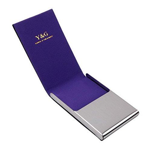YDC05 Bester Visitenkarte-Halter-Leder-Karten-Kasten Ausgezeichneter Designer durch Y&G CC1009-Lila