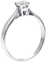 Swarovski Zirkonia-Verlobungsring, rein und brillant , 14Karat Weißgold, runder Schliff, Diamantimitat (0.44cttw)