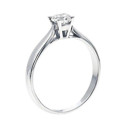 14K Gold/White Round Cut Diamond Simulated Swarovski Pure Brilliance Zirconia Engagement Ring (0.44 cttw)�