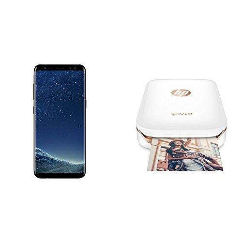 Samsung Galaxy S8 Smartphone midnight black + HP Sprocket Mobiler Fotodrucker weiß/rosegold
