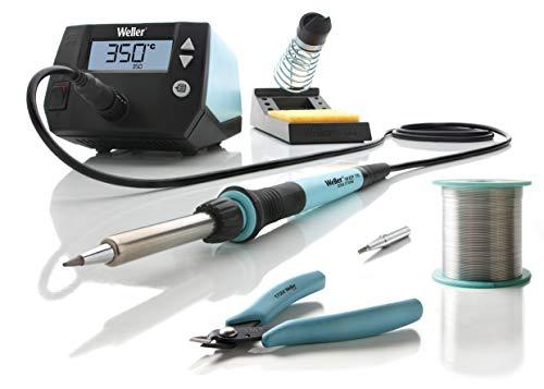 Weller Professional T0053298390 WE 1010 Education Kit (T0053298399) 70 W/230 V Digital 1-Kanal-Lötstation mit 2 Lötspitzen, Seitenschneider und Lotdraht, Temperaturbereich 100°C - 450°C, Blau - Lcd-verriegelung Kit