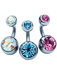 Jules Body Jewellery-Belly Bars-Set of 3 Surgical Steel Double Jewelled 6mm Belly Bars